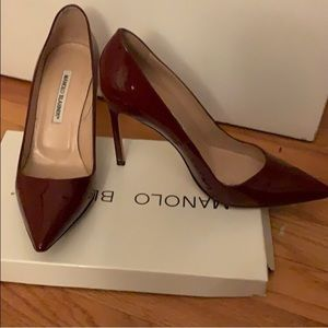 Burgundy patent leather Manolo stiletto heels